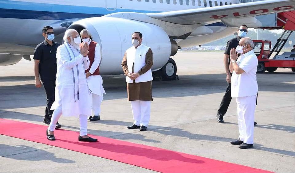 PM Modi arrives on two-day Gujarat visit