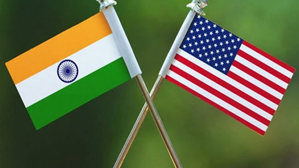 India US flags flying together